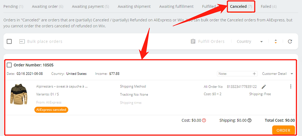 Orders not appearing on AliExpress with Wix DSers - canceled tab - Wix DSers