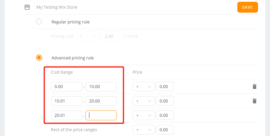 Pricing Rule with Wix DSers - set aadvanced Pricing Rule - Wix DSers