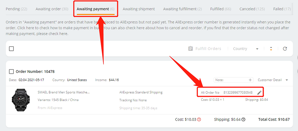 Place an order from WIX to AliExpress - order number - Wix DSers
