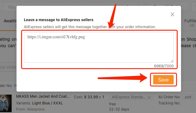 Send images to suppliers - Leave Your Message to AliExpress Suppliers - DSers