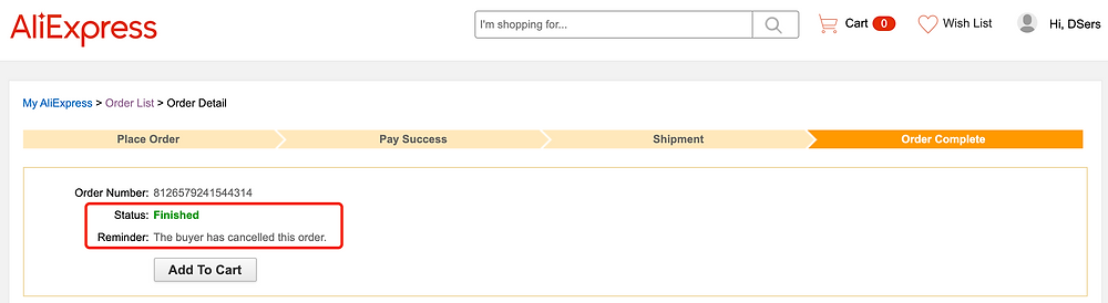 Re-order AliExpress canceled orders on Woo DSers - Example of canceled order - Woo DSers