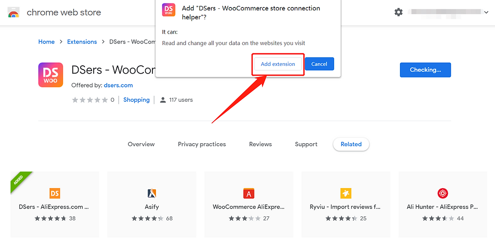 Why Woo DSers failed to connect to your WooCommerce store - Add extension - Woo DSers
