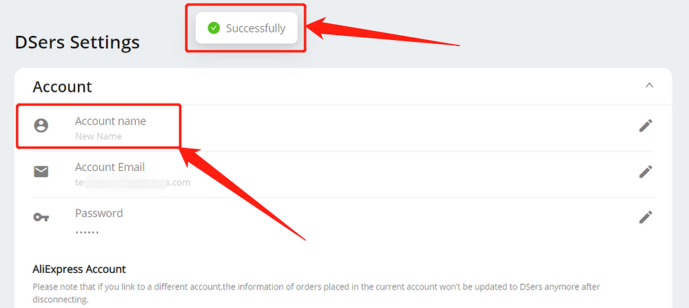Change account name with Wix DSers - successfully changed - Wix DSers
