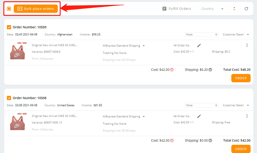 Place multiple orders from Wix to AliExpress with Wix DSers - bulk place orders - Wix DSers