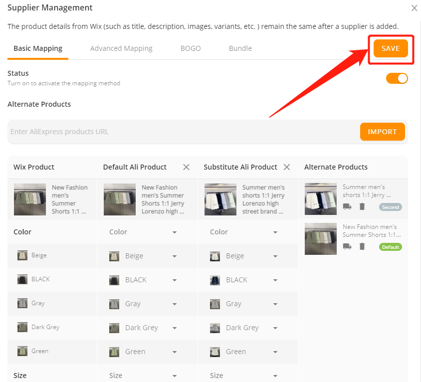 Add a substitute supplier to a product with Wix DSers - save changes - Wix DSers