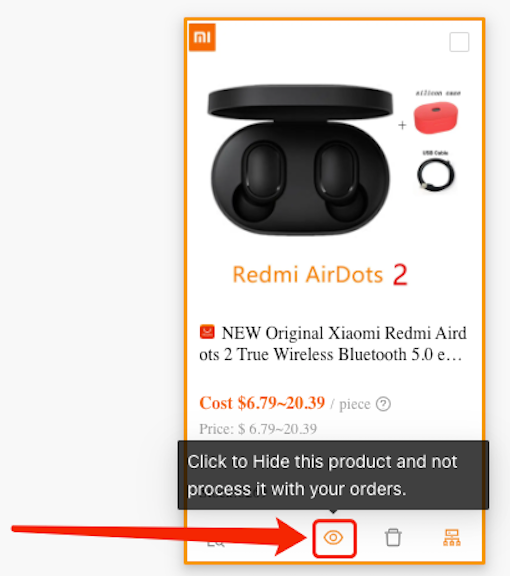 Hide a product with Woo DSers - Click Eye Icon - Woo DSers