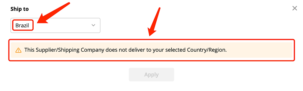 Why can't I select a shipping method - Doesn't Deliver to Brazil - DSers