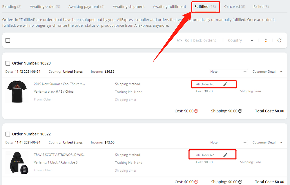 Fulfill orders manually on DSers - Fulfilled orders - Wix DSers