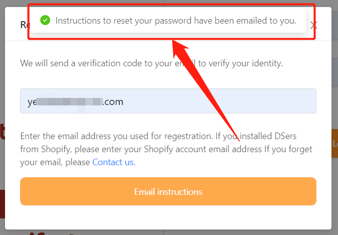 Change password with Wix DSers - sent the instruction - Wix DSers