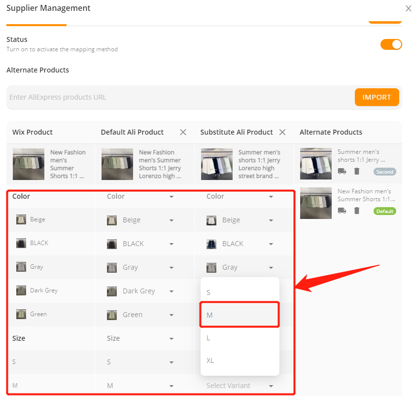 Connect multiple suppliers to one product with Wix DSers - Select variants - Wix DSers