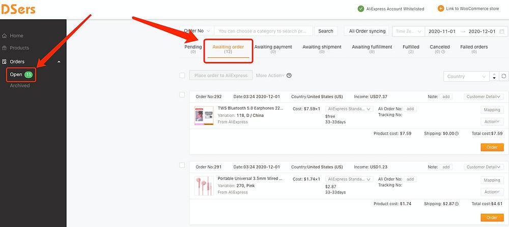 Fazer múltiplos pedidos do WooCommerce no AliExpress com Woo DSers - 1 - Woo DSers