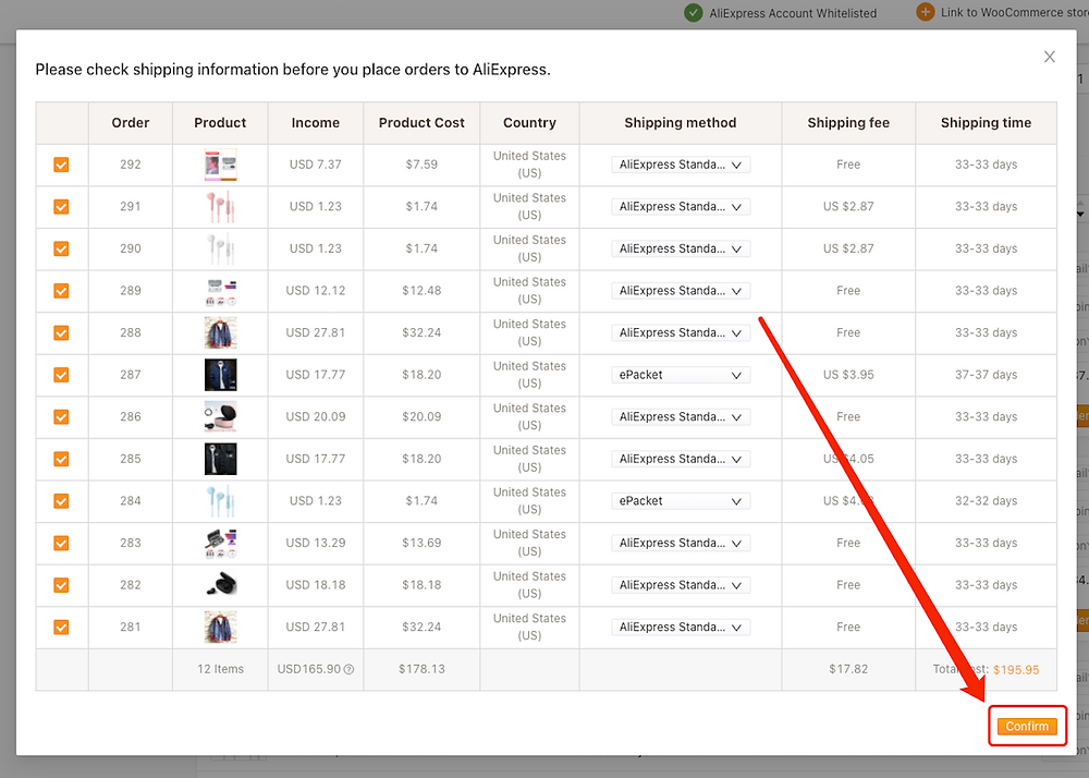 Place multiple orders from WooCommerce to AliExpress with Woo DSers - Confirm - Woo DSers