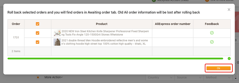 Re-order Awaiting fulfillment order on Woo DSers - Click OK - Woo DSers
