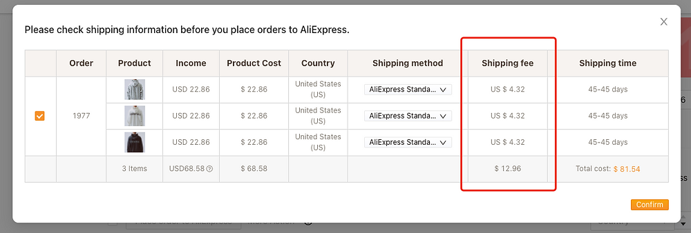 Shipping fees on Woo DSers - Shipping cost details - Woo DSers