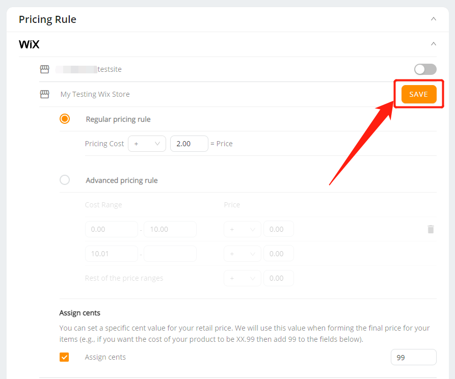 Pricing Rule with Wix DSers - save Assign cents - Wix DSers