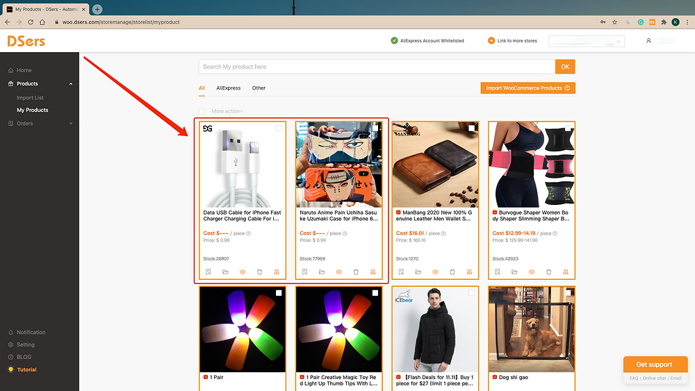 Import products from your WooCommerce store with Woo DSers - Product will appear in My Product - Woo DSers