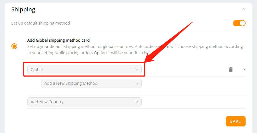 Set shipping method for all products with Wix DSers - select global - Wix DSers
