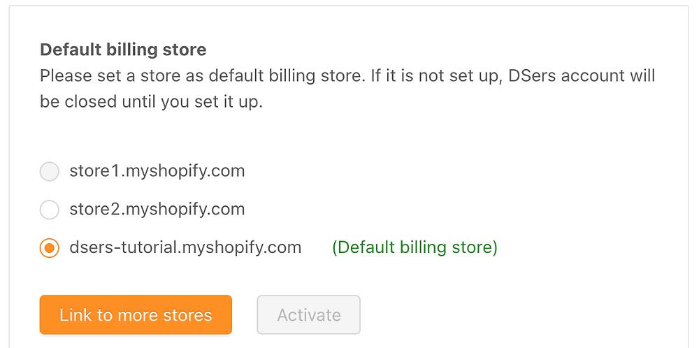 Change default billing store - Default billing store - DSers