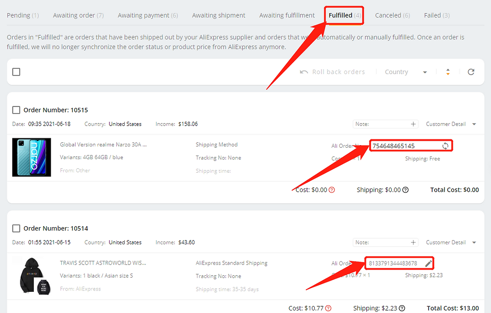 Pay multiple orders on AliExpress with Wix DSers - fulfilled tab - Wix DSers