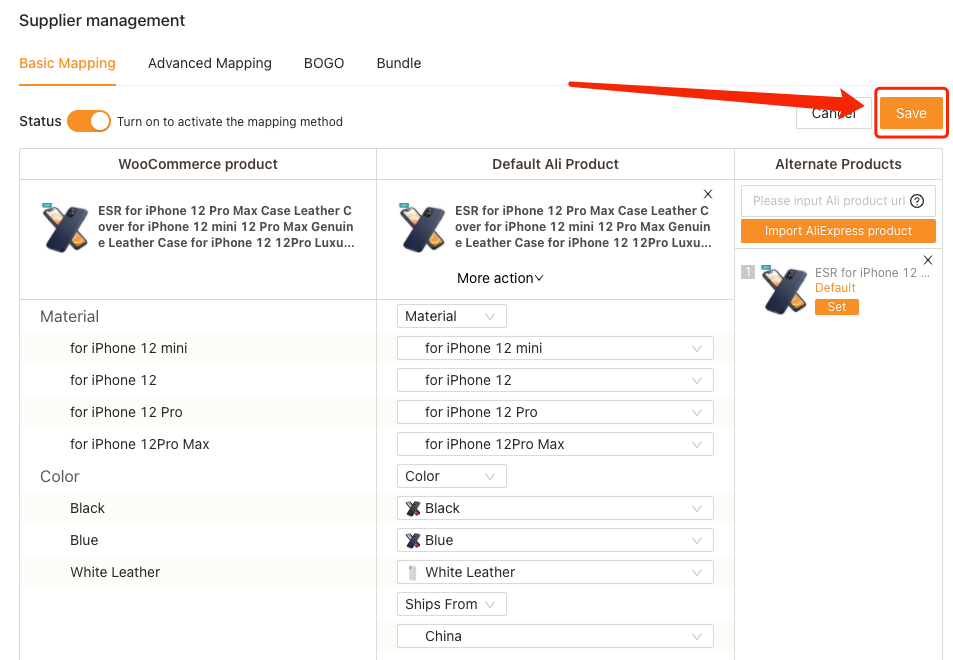 Remove Ships From of a product with Woo DSers - Click Save - Woo DSers