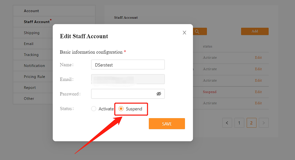 Add Staff Account to your Woo DSers - suspend staff account - DSers