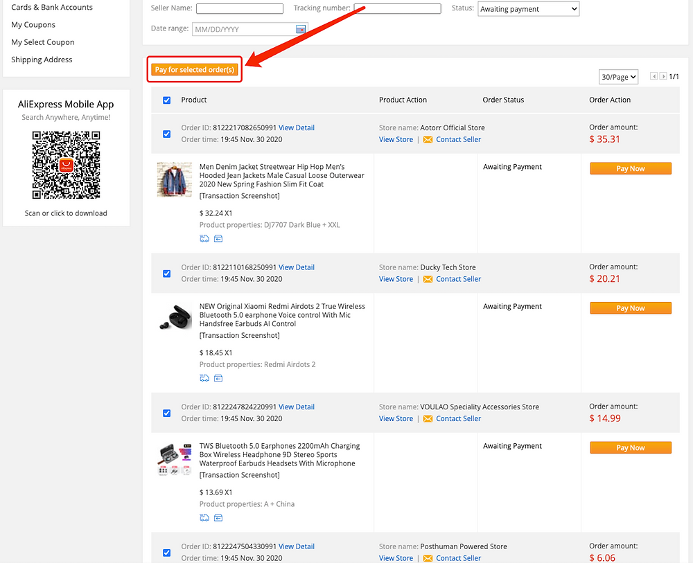Pay multiple orders on AliExpress with Woo DSers - Pay for selected orders - Woo DSers
