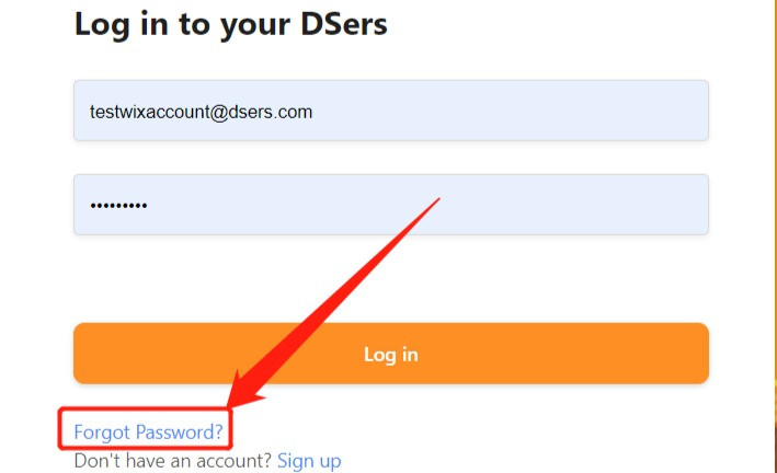Change password with Wix DSers - login page - Wix DSers