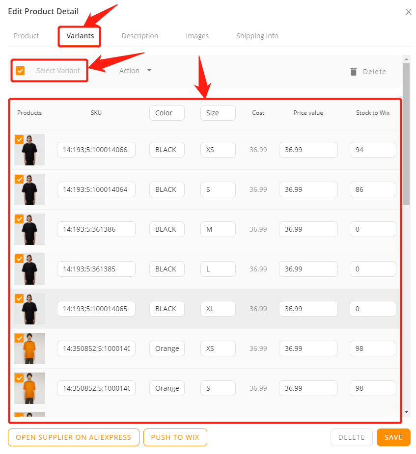 Edit a product on DSers with Wix DSers - select all product variant - Wix DSers