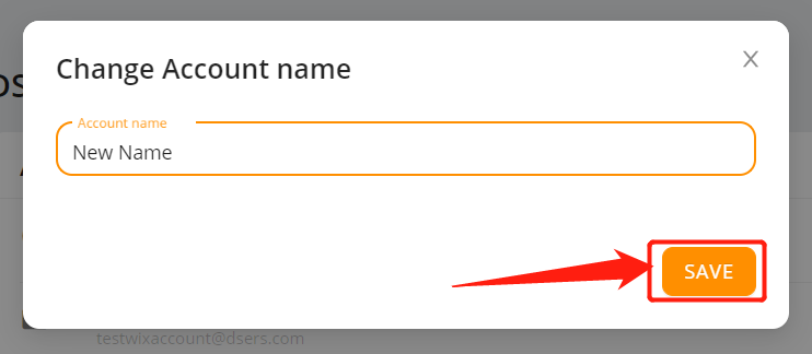 Change account name with Wix DSers - save account name - Wix DSers