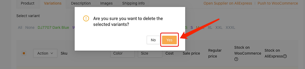 Edit a product on Woo DSers - Confirm deleting - Woo DSers