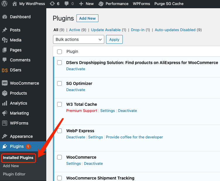 Why I can't push my product from Woo DSers to WooCommerce - Installed Plugins on WordPress - Woo DSers