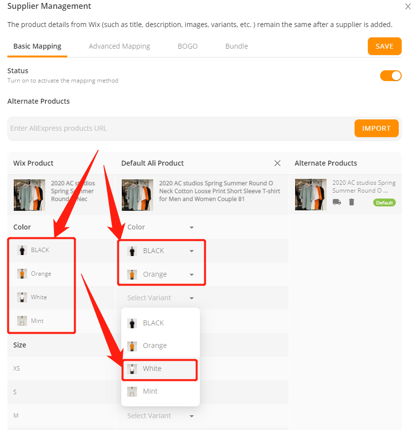 Connect AliExpress suppliers to your products with Wix DSers - Select attribute and variant for each one - Wix DSers