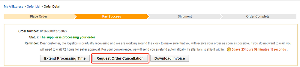 Re-order Awaiting fulfillment order on Woo DSers - Request Order Cancellation - Woo DSers