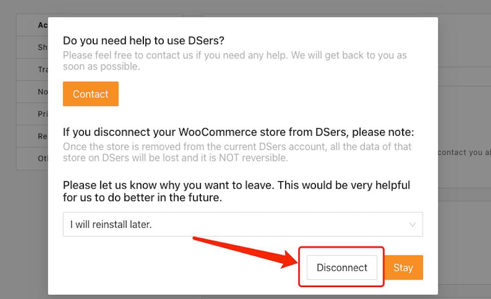Remover uma loja WooCommerce com Woo DSers - 4 - Woo DSers