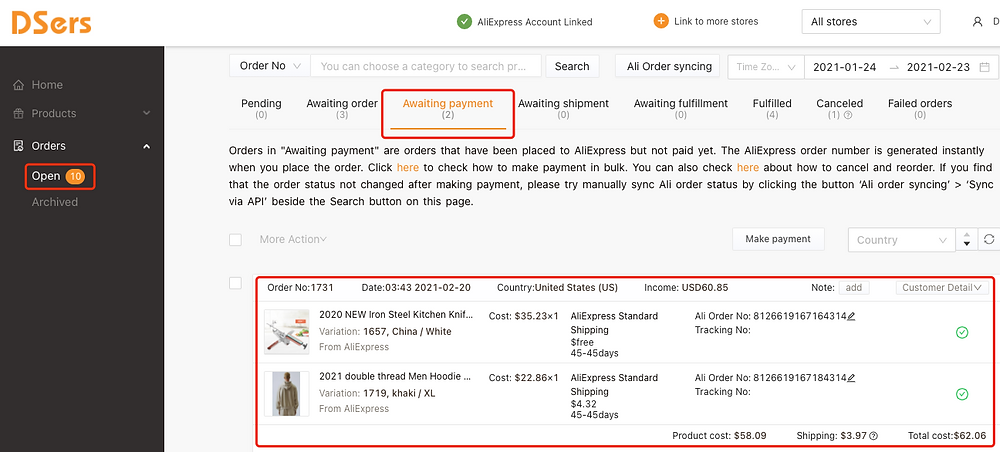Awaiting fulfillment tab introduction with Woo DSers - Access Awaiting payment - Woo DSers