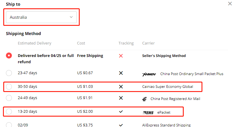 AliExpress Shipping Methods Changes - AliExpress product shipping method available - DSers