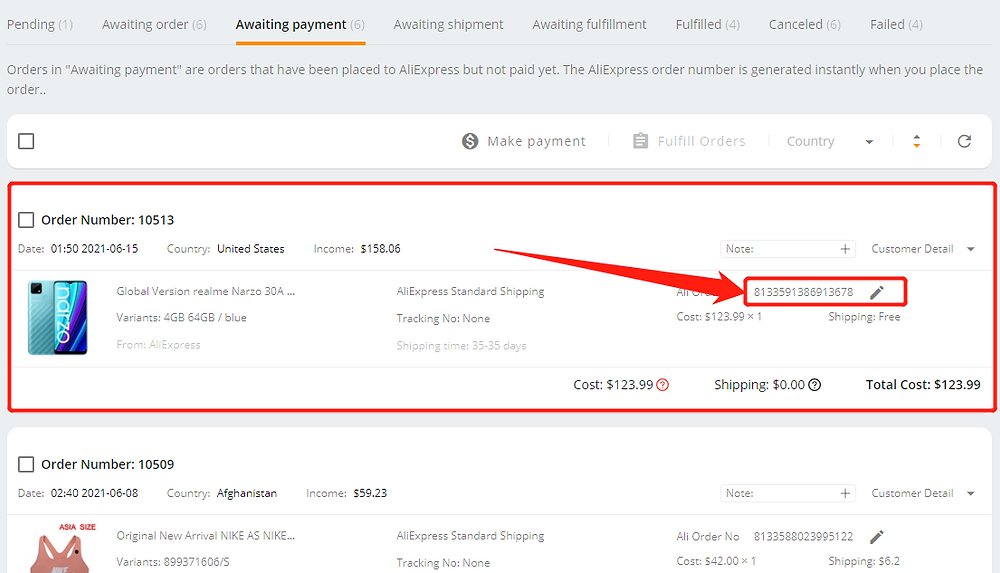 Pay an order on AliExpress with Wix DSers - Ali order number - Wix DSers