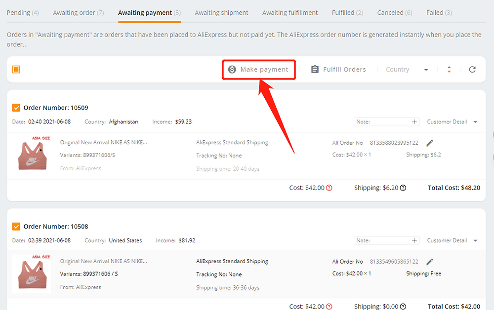 Fulfill multiple orders from start to finish with Wix DSers - make payment - Wix DSers