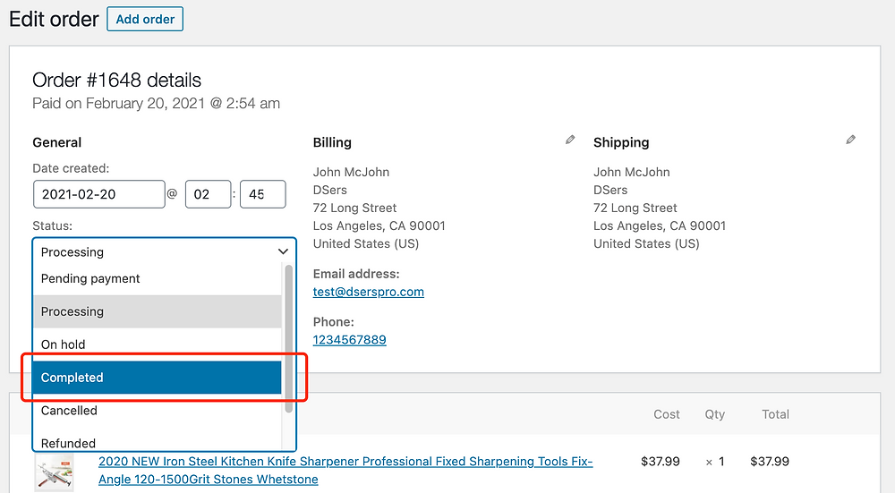 Fulfill orders manually on WooCommerce with Woo DSers - Select Completed - Woo DSers