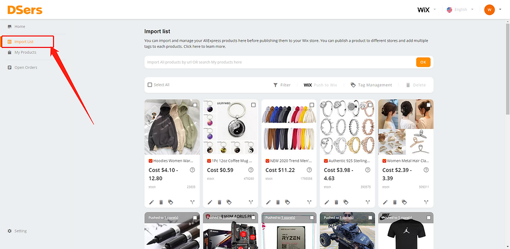 Import Product from AliExpress with Wix DSers - Import list - Wix DSers