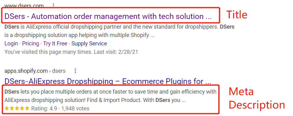How to improve SEO for dropshipping with DSers Beginner guide - Title and Meta description - DSers