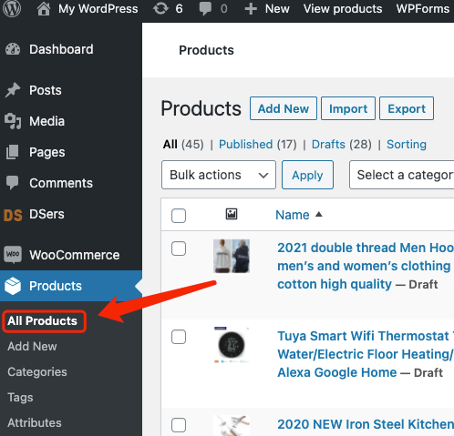 Edit a product on WooCommerce with Woo DSers - All products - Woo DSers