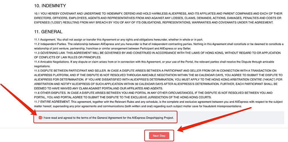 Link Woo DSers to AliExpress - Agree the terms of AliExpress general agreement - Woo DSers