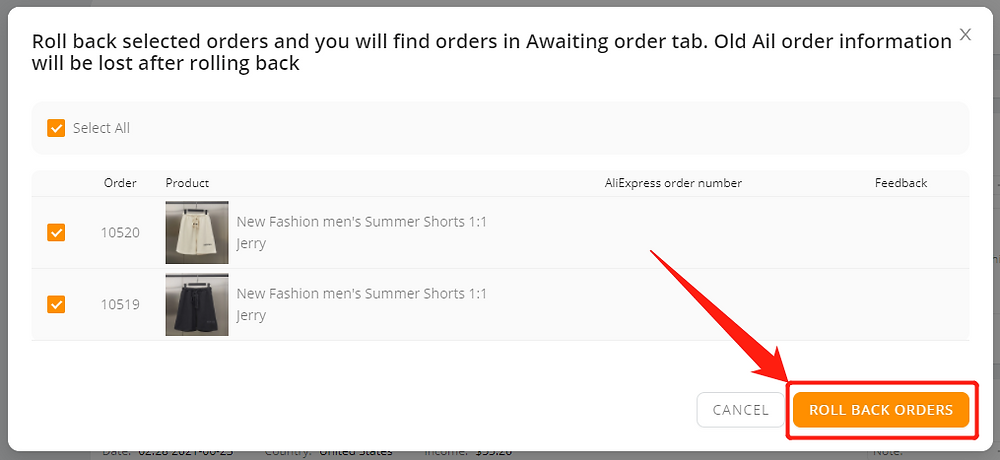 Re-order Fulfilled order with Wix DSers - roll back orders - Wix DSers