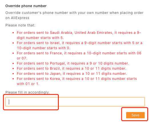 Orders to Korea specifications with Woo DSers - Delete phone number - Woo DSers