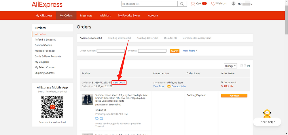Default message to suppliers - Details AliExpress Order - Wix DSers