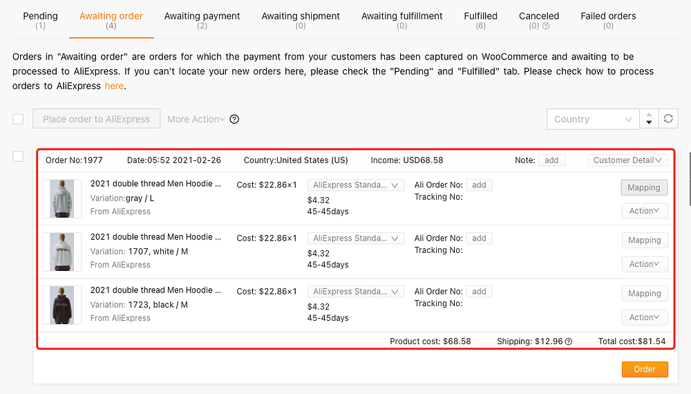 Shipping fees on Woo DSers - Order with 3 variations - Woo DSers