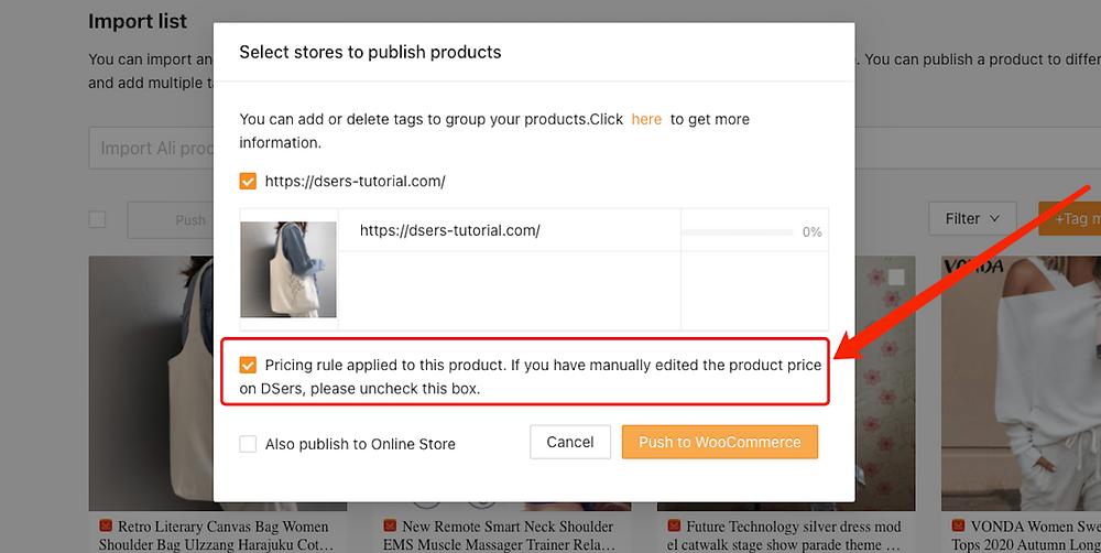 Enviar um produto a uma loja WooCommerce com Woo DSers - 4 - Woo DSers