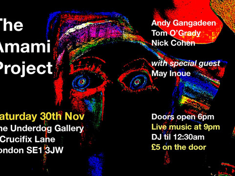 COMING UP SAT 30th NOV - The Amami Project ft. Andy Gangadeen, Nick Cohen, Tom O'Grady & May