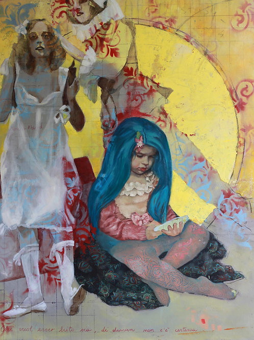 Harlequin, Colombine & The Blue Haired Girl By Rosso